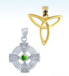 celtic pendants, trinity pendants, gold celtic pendants, silver celtic pendants